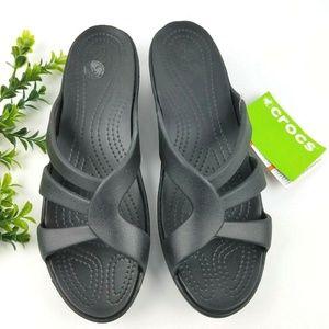 77e45ca7b82 CROCS Sanrah Srappy Wedge Sandals Black NWT S15
